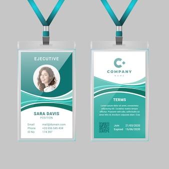 Modèle de carte d'identité verticale abstraite avec photo