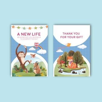 Modèle de carte avec illustration aquarelle de concept animaux heureux