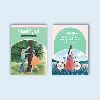 Modèle de carte avec illustration aquarelle de paradis amour concept design