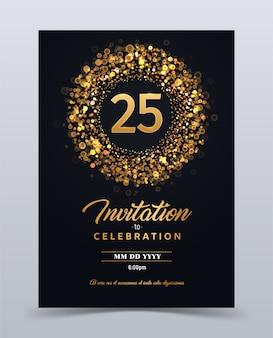 Modèle de carte d'invitation anniversaire 25 ans isolé illustration vectorielle