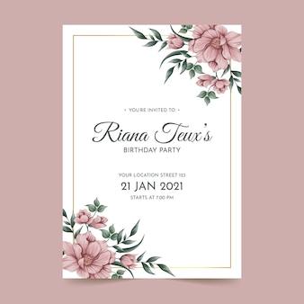 Modèle de carte d'invitation d'anniversaire floral