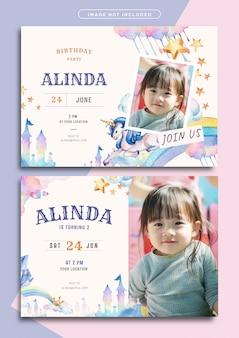 Modèle de carte d'invitation anniversaire thème licorne