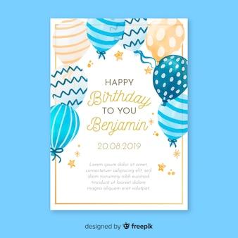 Modèle de carte invitation aquarelle anniversaire