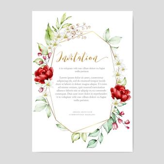 Modèle de carte invitation aquarelle cadre floral multi usage