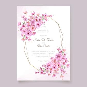 Modèle de carte d'invitation aquarelle fleur de cerisier élégant