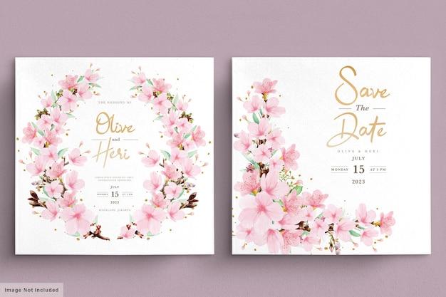 Modèle de carte d & # 39; invitation aquarelle fleur de cerisier