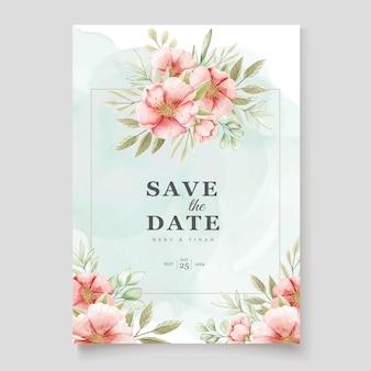 Modèle de carte d'invitation aquarelle floral et feuilles élégant