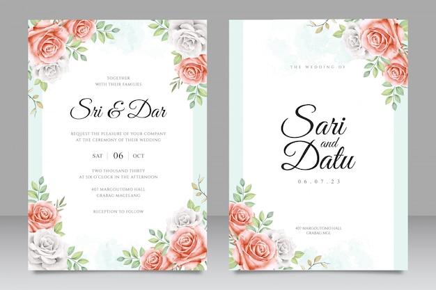 Modèle de carte invitation beau cadre floral mariage