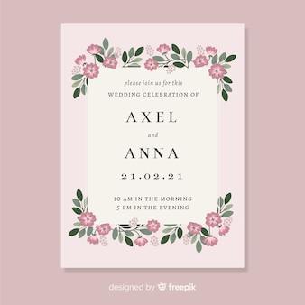 Modèle de carte invitation beau mariage floral
