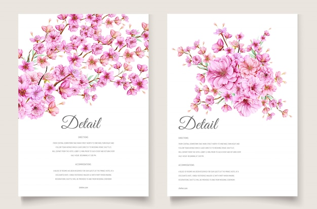 Modèle de carte d'invitation belle fleur de cerisier