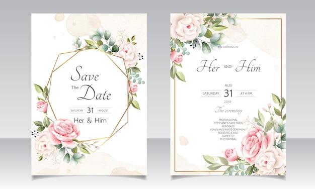 Modèle de carte invitation belle guirlande florale