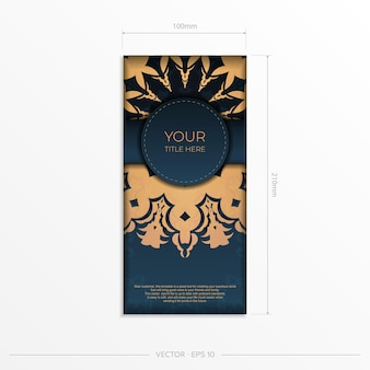 Modèle de carte d'invitation bleu foncé avec ornement indien. éléments élégants et classiques prêts pour l'impression et la typographie. illustration vectorielle.