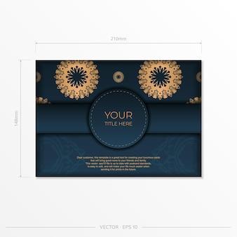 Modèle de carte d'invitation bleu foncé avec ornement indien. éléments vectoriels élégants et classiques prêts pour l'impression et la typographie.