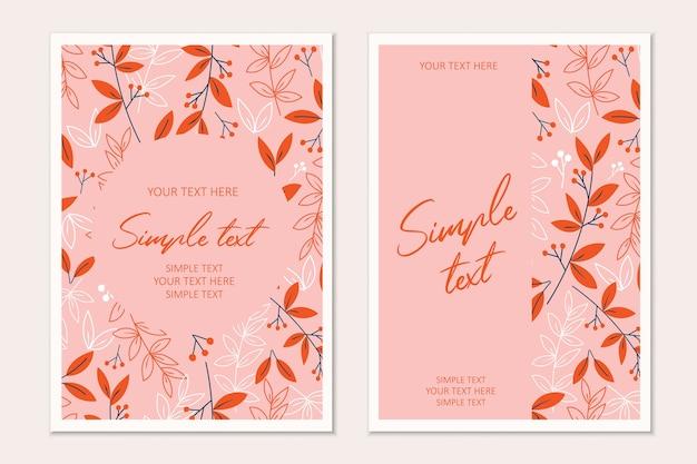 Modèle de carte d'invitation botanique moderne avec des feuilles orange.cartes avec un espace pour le texte.