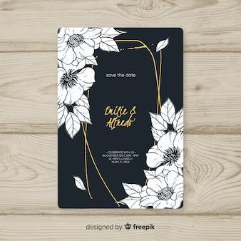 Modèle de carte d'invitation cadre floral