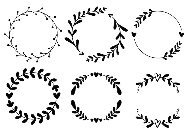 Modèle de carte d'invitation de cadre de mariage de logo de couronne de feuilles de cadre floral dessiné à la main