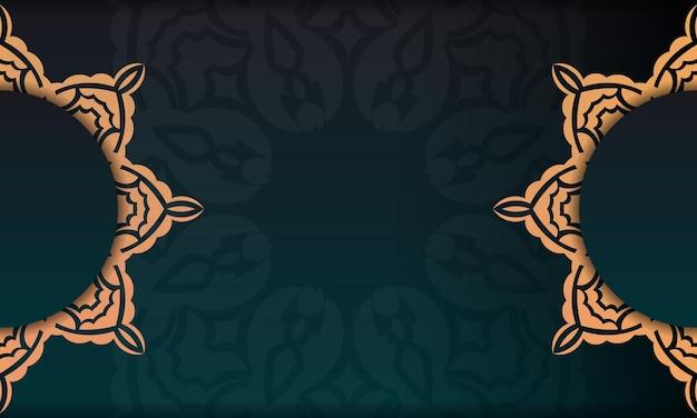 Modèle de carte d'invitation de conception d'impression avec des motifs vintage. bannière modèle vert foncé avec ornements de luxe et place sous le texte.