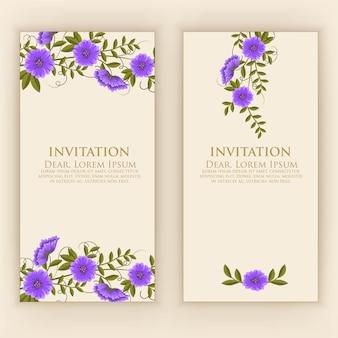 Modèle de carte d'invitation avec une décoration florale élégante