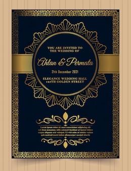 Modèle de carte d'invitation doré vintage de luxe.
