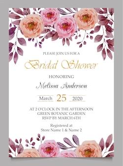 Modèle de carte d'invitation de douche nuptiale et invitation de mariage