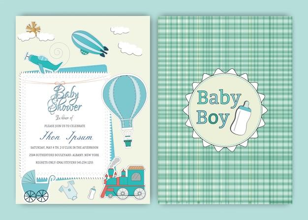 Modèle de carte d'invitation de fête de douche de ballon d'air chaud bébé