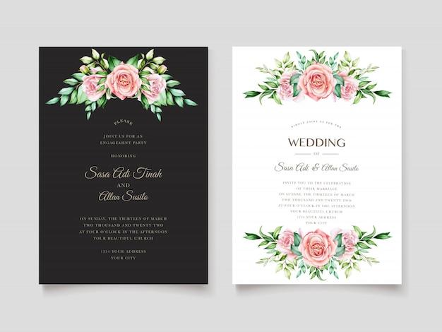Modèle de carte d'invitation floral aquarelle élégant