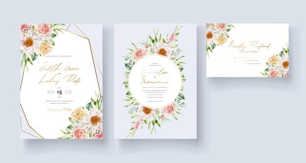 Modèle de carte d & # 39; invitation floral aquarelle
