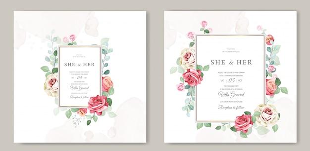 Modèle de carte d'invitation floral et feuilles