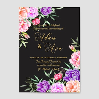 Modèle de carte invitation floral mariage aquarelle