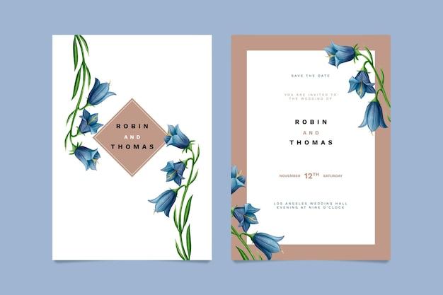 Modèle de carte d'invitation floral de mariage
