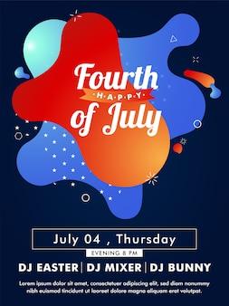 Modèle de carte ou invitation de joyeux quatrième de juillet avec tim