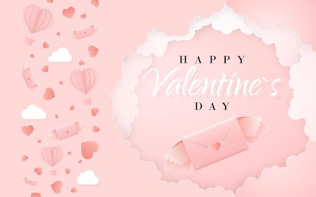 Modèle de carte d'invitation joyeux saint valentin avec lettre de papier origami, nuages et confettis. fond rose.