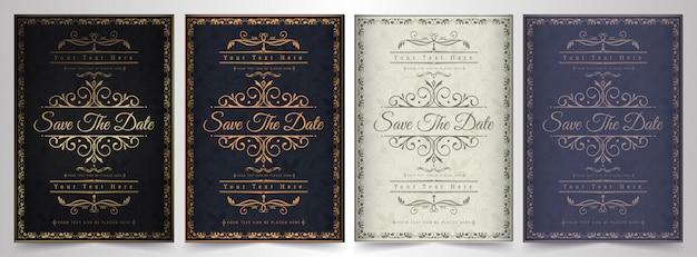 Modèle de carte d'invitation de luxe vecteur doré vintage