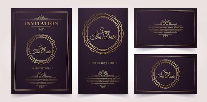 Modèle de carte d'invitation de luxe vecteur d'or vintage