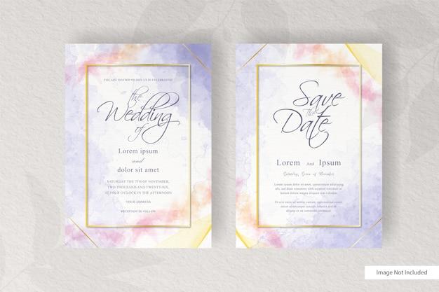 Modèle de carte d & # 39; invitation de mariage abstrait avec décoration aquarelle élégante