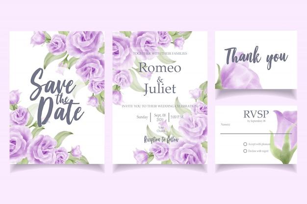 Modèle de carte d'invitation de mariage aquarelle belle rose