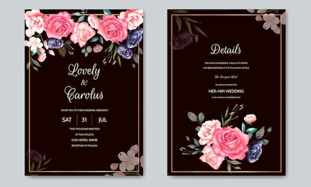 Modèle de carte d'invitation de mariage aquarelle avec un cadre de fleurs et de feuilles