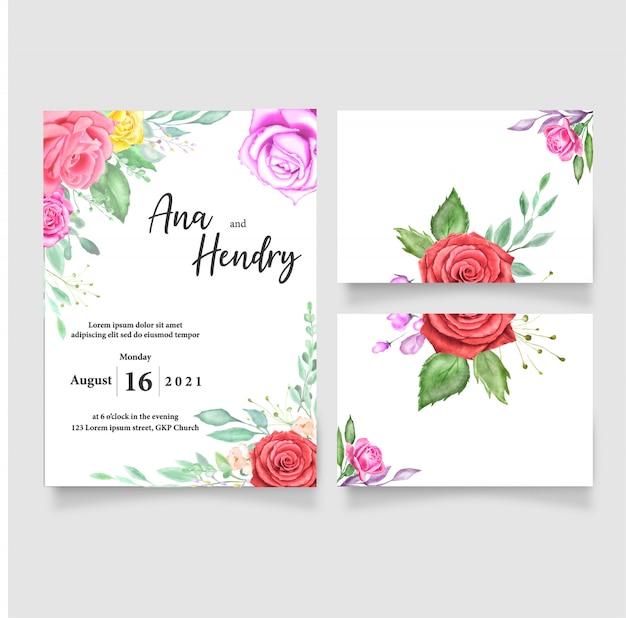 Modèle de carte invitation de mariage aquarelle conception