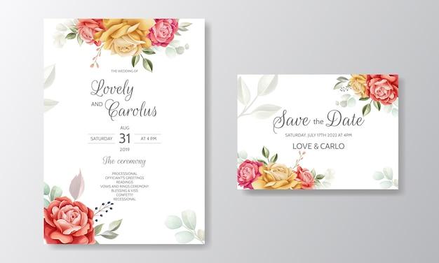 Modèle de carte d'invitation de mariage aquarelle élégant serti de belles fleurs et feuilles