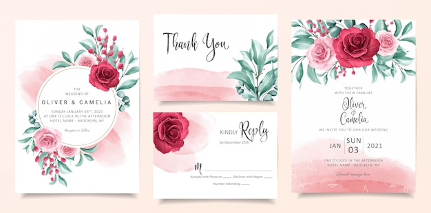 Modèle de carte invitation de mariage aquarelle élégante sertie de décoration florale et de paillettes d'or.