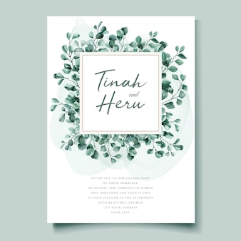 Modèle de carte d'invitation de mariage aquarelle eucalyptus
