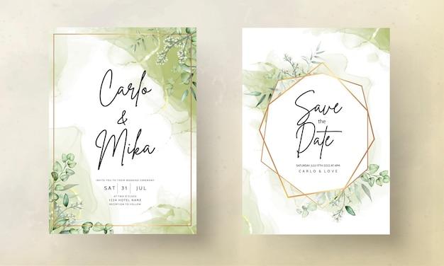 Modèle de carte d'invitation de mariage avec aquarelle de feuilles d'eucalyptus