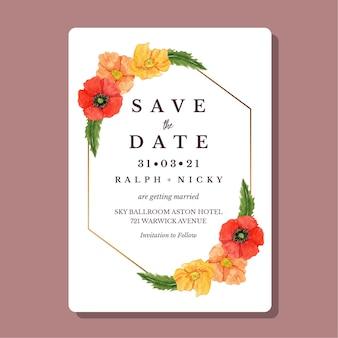 Modèle de carte d & # 39; invitation de mariage aquarelle fleur de coquelicots or frontière géométrique