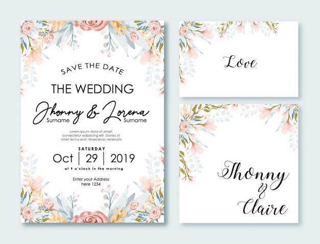 Modèle de carte invitation de mariage aquarelle fleur