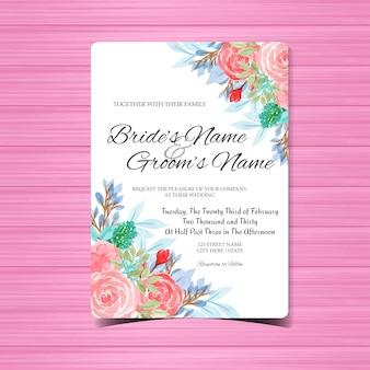 Modèle de carte invitation de mariage aquarelle avec fleurs roses