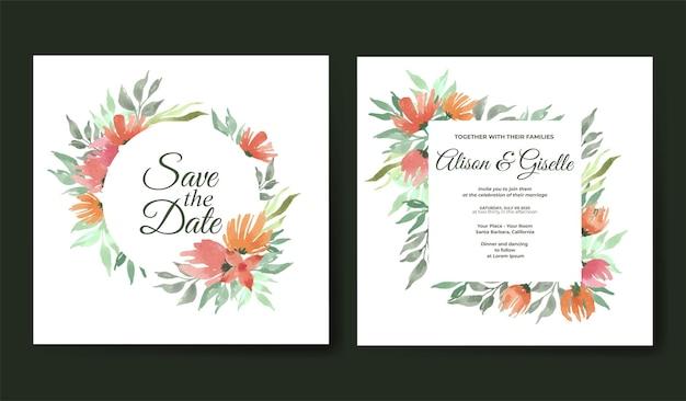 Modèle de carte d'invitation de mariage aquarelle floral beau et élégant
