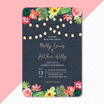 Modèle de carte invitation de mariage avec aquarelle floral été tropical