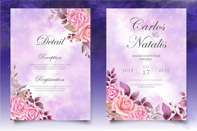 Modèle de carte invitation de mariage aquarelle floral et feuilles