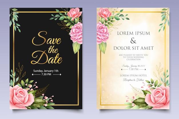 Modèle de carte d'invitation de mariage aquarelle floral et feuilles