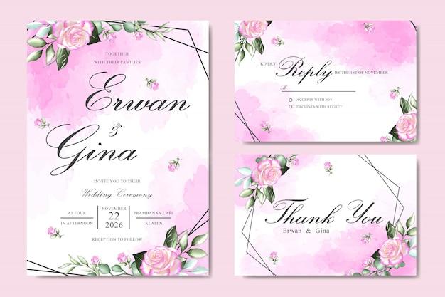 Modèle de carte invitation de mariage avec aquarelle florale et feuilles